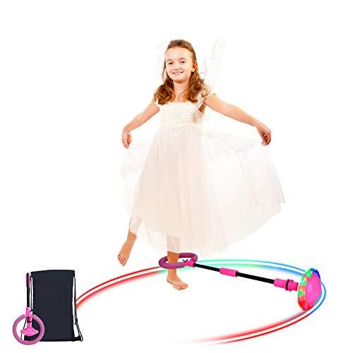 Sinwind Bola de Salto de Tobillo, Anillo de Salto Intermitente, LED Saltar Bola Plegable Anillo de Salto Intermitente Colorida Flash Bola de Salto, Colorida Anillo de Salto de Tobillo Niños (Rosa)