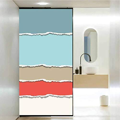 Vinilo adhesivo impermeable para ventana de cristal, diseño moderno de papel roto en diferentes colores suaves, adhesivo estático para ventana para hogar y oficina, 23.6 x 78.7 pulgadas