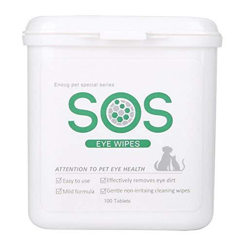 Toalla de limpieza estéril para el cuidado de los ojos de 100 piezas, toallitas para ojos de mascotas para gatos y perros, detergente para lágrimas, suave, desodorizante