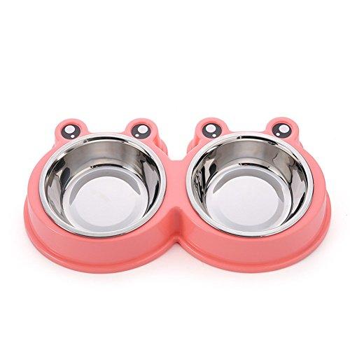 Pet Online Tazón de fuente del animal doméstico del tazón de fuente del plátano de la forma de la rana del doble para los perros y los gatos, 27.8 * 15.5 * 4CM, color de rosa
