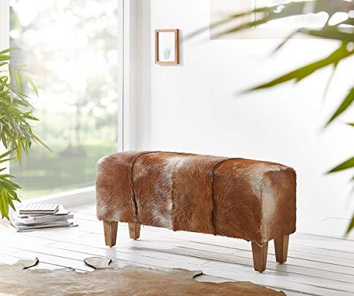 DELIFE Bank Koza Braun 100x30 cm komplett bezogen mit Ziegenfell