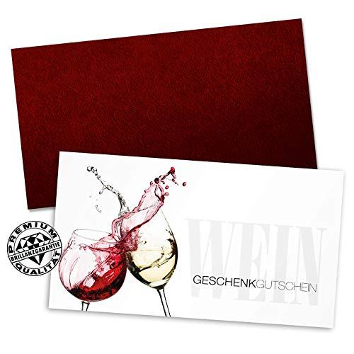 100 hochwertige Gutscheinkarten + 100 Kuverts. Gutscheine für Wein und Sekt Spirituosen. Vorderseite hochglänzend. W1219