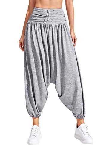 DIDK Pantalones harén para mujer, de pierna ancha, deportivos, holgados, para yoga, con cordón, estilo hippie flowy, informales, Aladín gris claro XL