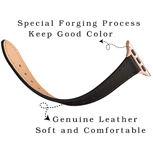 STIROLL Slim Leather Bands Compatible with Apple Watch Band 38mm 40mm 42mm 44mm, Top Grain Leather Watch Thin Wristband for iWatch Series 5/4/3/2/1 (Black with Rose Gold, 38mm/40mm)