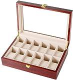 Caja de almacenamiento de reloj de madera con 12 ranuras para joyas, relojes, caja de almacenamiento con cerradura y tapa de cristal marrón (color: marrón, tamaño: 31 x 21 x 9 cm)