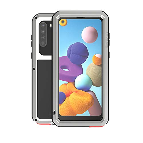 Love MEI for Samsung Galaxy A21 Case,Outdoor Sports Military Heavy Duty Metal Cover Waterproof Shockproof Dustproof Full Body Protective Case with Built in Glass Tempered Screen Protector (Silver)