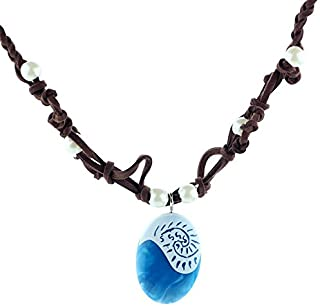 AHAYLYN Magical Seashell Blue Pendant, Faux Leather and Resin Necklace.Heart of Te Feti Necklace.Birthday Cosplay Party Supplies.
