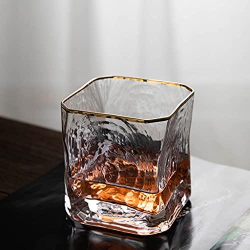 Cristalería Vaso De Whisky Vaso Cuadrado Japonés Vaso De Cristal Vaso De Whisky Borde Dorado Martillado Vaso De Agua Espesado para El Hogar (Color : Clear, Size : 250ml*6)