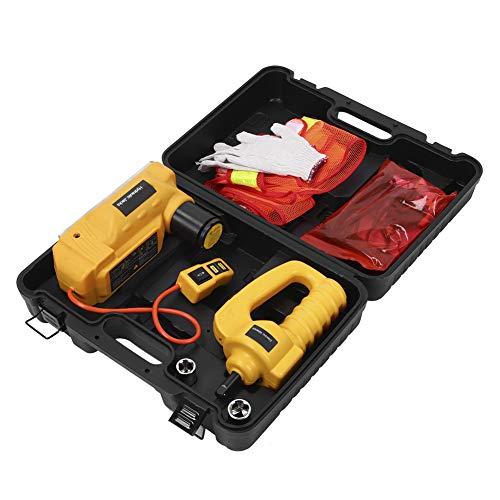 Fydun Capacidad del Gato hidráulico de 6 toneladas Gato de Piso eléctrico hidráulico de 12V Llave electrica para vehículo SUV Juego de Gatos de elevación para reparación de neumáticos