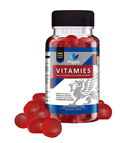 Physis Multivitamin Gummies for Men | 30 Gummies | Strawberry Flavour | Men's Multivitamins | Chewable Vitamin with Vitamins C, D, Biotin, Zinc | Boost Strength, Tone, Cognition, Energy & Health