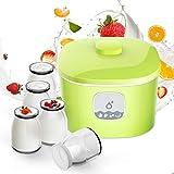 Hchao Fabricante de Yogur pequeño, Pantalla de luz LED, Tanque Interior de Acero Inoxidable, 5 Vasos de Vidrio, Puede Hacer Yogur, Vino de arroz, natto, Verde.