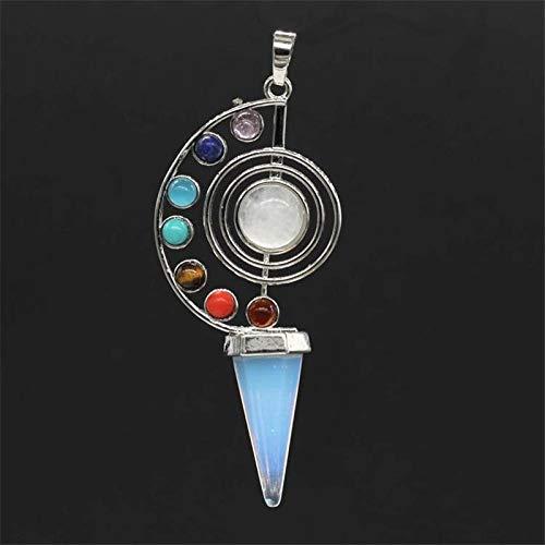CNZXCO 2pcs Péndulo, Péndulo De Curación De Reiki, 7 Chakra Cono Piedras Naturales Colgantes, Amuleto, Meditación De Cristal Péndulo Hexagonal para Hombres Collar De Mujeres (Color : Blue)