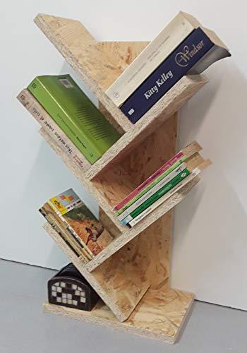 Estantería Madera Sobremesa Mod. Árbol, Librería, Biblioteca, Organizador Escritorio, Decoración... 30x61x18 Cm. OSB Natural