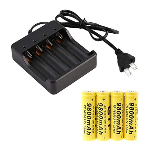 Fan-Ling Lithium-ion Li-ion Batteries,4x 18650 3.7V 9800mAh Li-ion Rechargeable Battery Smart Charger Indicator