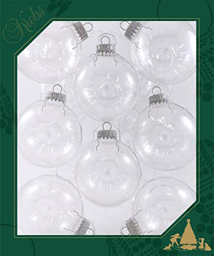 8 Each, Crafting Clear 2 5/8' (67mm) Round Glass Ball Ornaments with Silver Crown Caps - Customizable Christmas Ornaments - Decorate with Paint, Glitter, Ribbons - Simple Holiday Crafting Projects