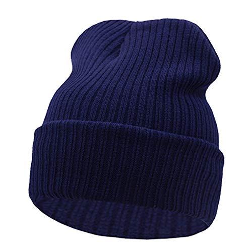 PPLAS Wintermütze for Männer Strickmütze Frauen Winter Hüte for Frauen Männer Strickkappen Blank Beiläufige Warm-Flachhaube (Color : Navy, Size : One Size)