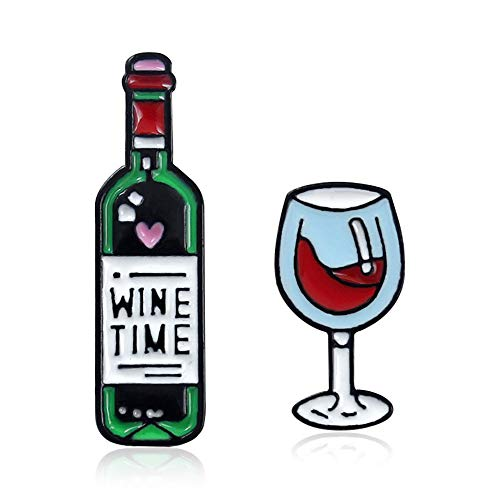 KAMRESH Alloy Pins Sets Cute Cartoon Wine Time Glass Brooches for Clothing Bags Backpacks Jackets Hat Jewelry DIY Accessories