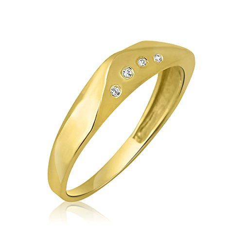 Goldring Massiv Gold 585 14 Karat Damen Band - Ring - Breiter - Gelbgold Gr 48 bis 62 (50 (15.9))