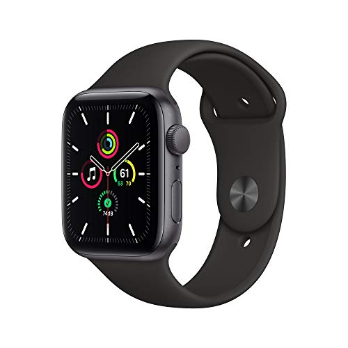New Apple Watch SE (GPS, 44mm) Space Gray Aluminum Case - Black Sport Band