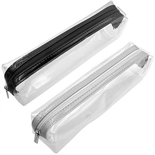 Akuoly trousses à crayons transparentes avec fermeture Éclair, lot de 2, 21 x 5 x 6 cm
