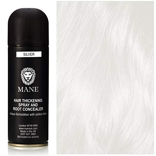 Mane Hair Thickening Spray - for Hair Loss and Thinning Hair and to cover grey roots-Silver 200 ml