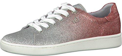 s.Oliver 5-5-23698-20 Modischer Damen Freizeitschuh,Sneaker,Schnürhalbschuh,weiches Soft Foam Fußbett, metallic (Silver/RED), EU 37