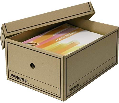 Pressel® Archivbox, Wellpappe, mit Deckel, A4, 25,5 x 35 x 15,5 cm, natur (10 Stück), Sie erhalten 1 Packung á 10 Stück