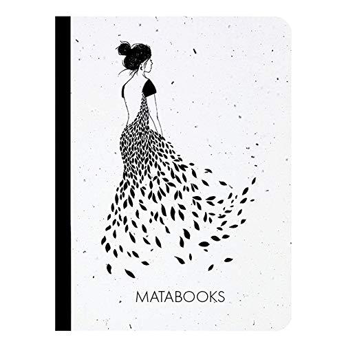 Matabooks, nachhaltige und vegane Notizbücher A6 aus Graspapier, Samenbuch, 108 blanko Seiten, Natur, Handmade, Made in Germany (Flüstern)