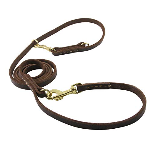 Durable Multi Function 8 ft Dog Leash, Genuine Leather Hands Free Leash Dog Training Leash for Small, Medium and Large Dogs