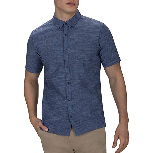 Hurley Men's One & Only Textured Short Sleeve Button Up, Obsidian, XL