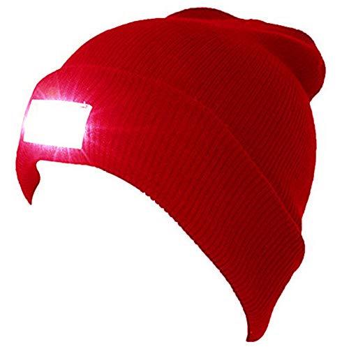 GZZJ Strickmütze mit Licht, Unisex-Winterwärmer-Strickkappe, Hands Free Scheinwerfer Cap für Jogging, Camping, Grillen - Schwarz/Grau,Rot