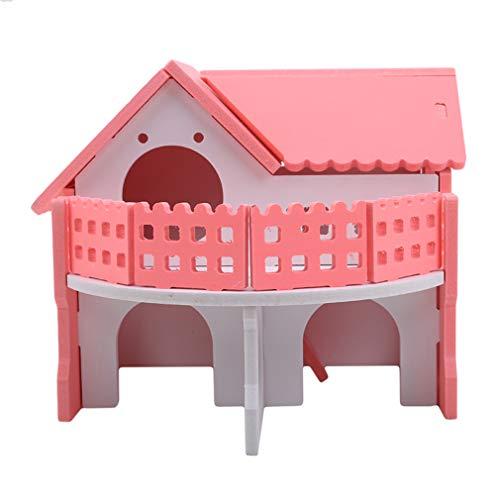Hengxing-Hamster-Schloss-Holzkäfig-Nest-Haus-Übungs-Schlafenspielzeug mit Zwei Schichten