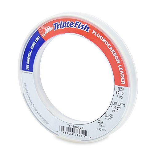 Triple Fish 20 lb Test Fluorocarbon Leader Fishing Line, Clear, 0.40 mm/100 yd