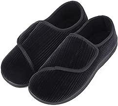 LongBay Men's Memory Foam Diabetic Slippers Comfy Warm Plush Fleece Arthritis Edema Swollen House Shoes (11, Black)