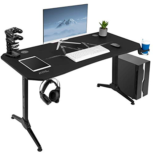 Furmax Office Desk Y-Shaped PC Computer Table with Carbon Fibre Surface Free Mouse Pad Gaming Desk Office Workstation Gamer Table Pro with Game Handle Rack Cup Holder Headphone Hook (55 inch, Black)