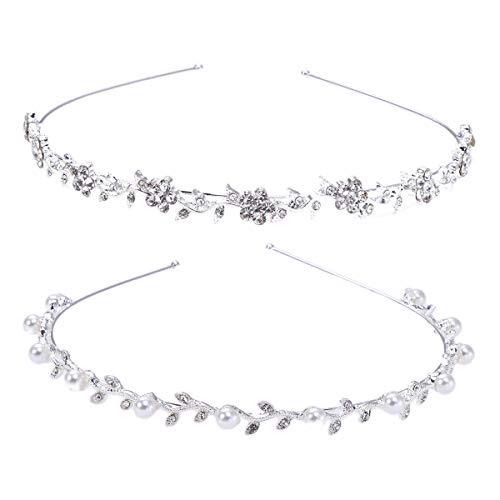 Lurrose 2pcs minimalista elegancia plata Rhinestones y perlas decoración hoja vid diadema para mujeres