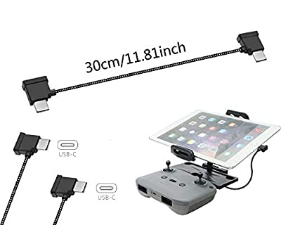 Tineer Nylon Braided USB Cable Fit for DJI Mavic Air 2 Drone Accessory - USB C to Micro USB/iOS/Type C Phone Tablet to Connect Remote Controller Data Transfer Wire Cord (For Type-C Tablet) from Tineer
