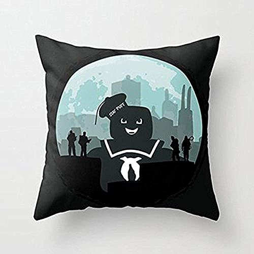 18' x 18' Square Throw Pillow Covers, Pillowcase Ghostbusters Versus The Stay Puft Marshmallow Man Throw Pillowcase, Pillow Cover, Hom,for Sofa Couch Living Room