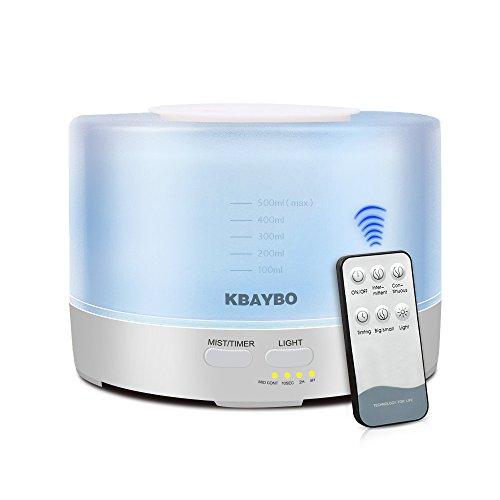 KBAYBO 500ml Raffreddare la Nebbia umidificatore diffusore Olio Essenziale aromatico ad ultrasuoni con 4 impostazioni del Timer 7 Colori cambiano LED per la Camera da Letto Ufficio