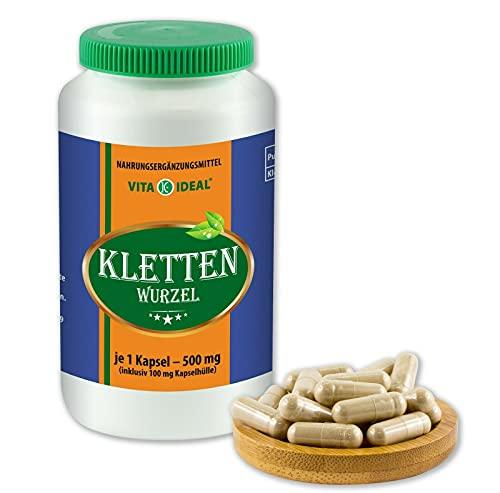 VITAIDEAL ® Kletten-Wurzel (Burdock root) 90 Kapseln je 500mg, aus rein natürlichen Kräutern, ohne Zusatzstoffe von NEZ-Diskounter