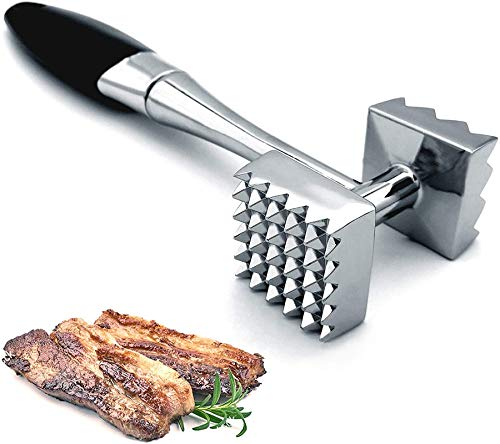 Meat Tenderizer, Dual-Sided Nails Meat Mallet, Meat Hammer Used for Steak, Chicken, Fish,Meat Pounder With Rubber Comfort Grip Handle, 8.8 inches Meat Tenderizer Tool