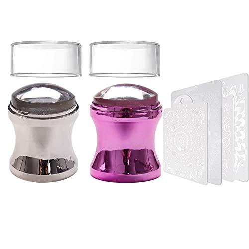 EBANKU 2PCS Stamper per Unghie, Stampino per Unghie in Silicone Trasparente Staccabile Testa di Gelatina con 2PCS Raschietti, Stamper per nail art per strumenti per manicure (argento + viola)