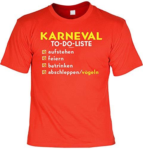 Karneval Kostüm Sprüche T-Shirt Karneval/Fasching : Karneval to-Do-Liste abschleppen/vögeln - lustige Tshirt Verkleidung Karneval-Muffel/Gruppen-Shirt Gr: 4XL