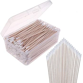 400 Packs Cotton Swabs Gun Cleaning Swabs 6 Inch Wooden Long Makeup Cotton Swabs Single Tip Cleaning Swabs Firearm Cleaning with Storage Case for Jewelry Ear Cleanings