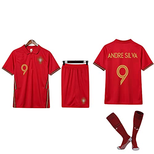 PGOTYY Mens Portugal Football Jersey Uniform, Pepe Felix Fernandes, 2020~21 Kit/Away Kit, Traje de Fútbol Camisetas Traje, Regalo, Juego de 3 Piezas HomeBN9-M
