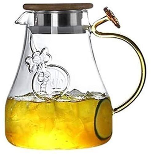 Tetera de cristal Tetera de 1,4 l / litro jarra de vidrio, vidrio borosilicato sin plomo jarra, jarra de agua con tapa, una jarra de té con el canalón, Botella de agua de agua fría, jugo de frutas, et