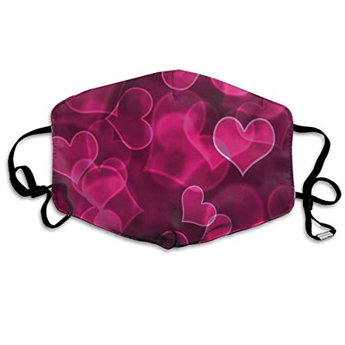 Cute Sweet Heart Shapes On Blurry Background Romantic Love Valentines Day Unisex Windproof and Dustproof Mouth Mask,Face Cover with Adjustable Elastic Strap