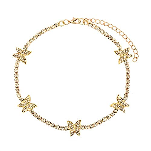 Brazalete De Tobillo Ladies Shiny Rhinestone Cadena De Tenis Anklet Butterfly Crystal Toblet Brazalet Peach Jewelry-W