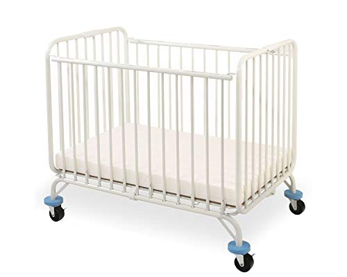 Best Price Benzara Slatted Metal Crib with Folding Mechanism and Casters, Large, White