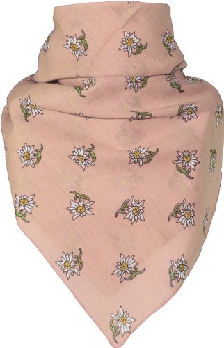 Harrys-Collection Bandana mit Edelweiss in 15 Farben aus Baumwolle, Farben:rose, Größen:Einheitsgröße